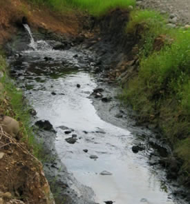 Ecuadorian oil treatment pond effluent